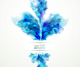 Blue color Lily Flower background Vector 04