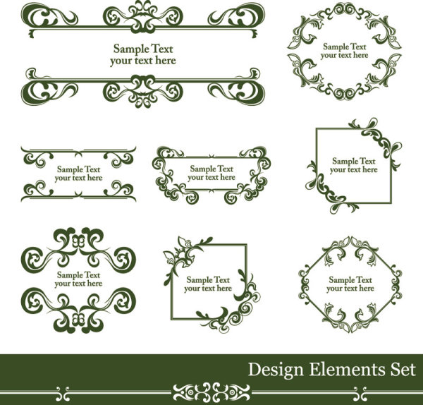 Vintage lace vector Borders 01