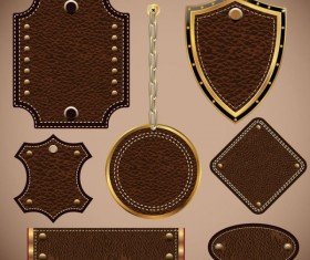 Leather label free vector 02