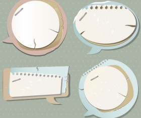 paper Speech Bubbles Label Stickers vector01