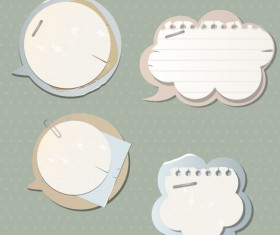 paper Speech Bubbles Label Stickers vector02