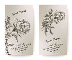 Set of Vintage with Flowers cards vector 02