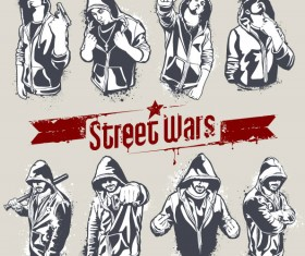Street wars vector Silhouettes 01