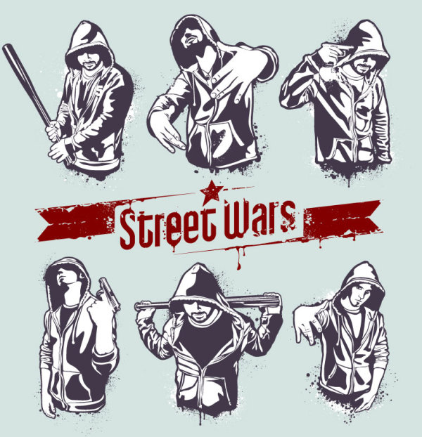 Street wars vector silhouettes 02