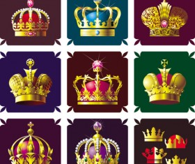 Set of gold color Crown vector 01
