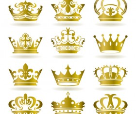 Set of gold color Crown vector 02