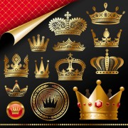 Link toSet of gold color crown vector 03