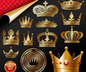 Set of gold color Crown vector 03
