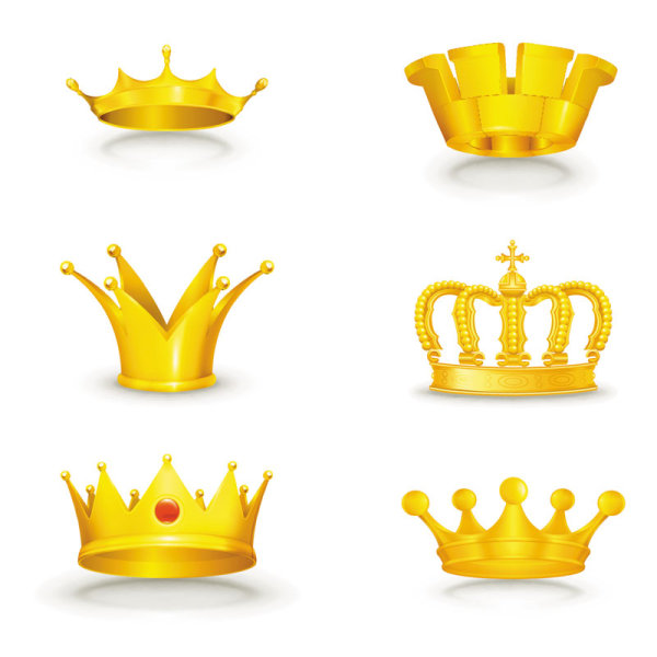 Set of gold color Crown vector 04