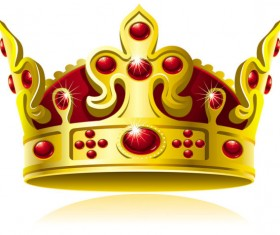 Set of gold color Crown vector 05