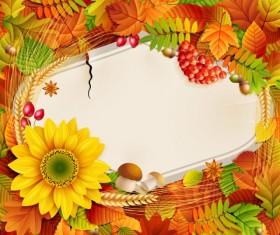 Flowers & Leaf vector Photo Frame 01