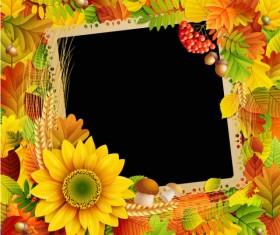 Flowers & Leaf vector Photo Frame 03