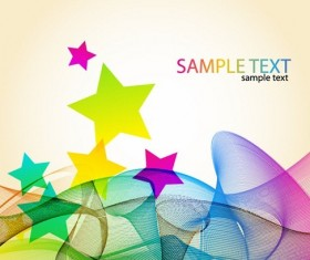 Colorful Waves with Star free Vector Background