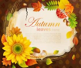Flowers & Leaf vector Photo Frame 06