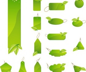 Green Leaf Tag Labels free Vector
