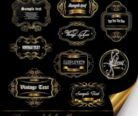 Gorgeous gold color vector Labels 01