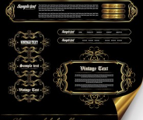 Gorgeous gold color vector Labels 02