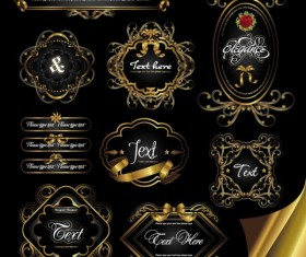 Gorgeous gold color vector Labels 03