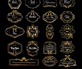 Gorgeous gold color vector Labels 05