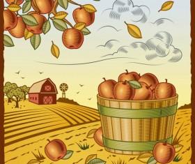 The harvest season cartoon vector 03