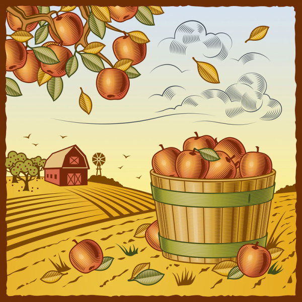 The harvest season cartoon vector 03