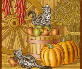 The harvest season cartoon vector 04