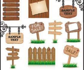 Wooden signboards vector background 02