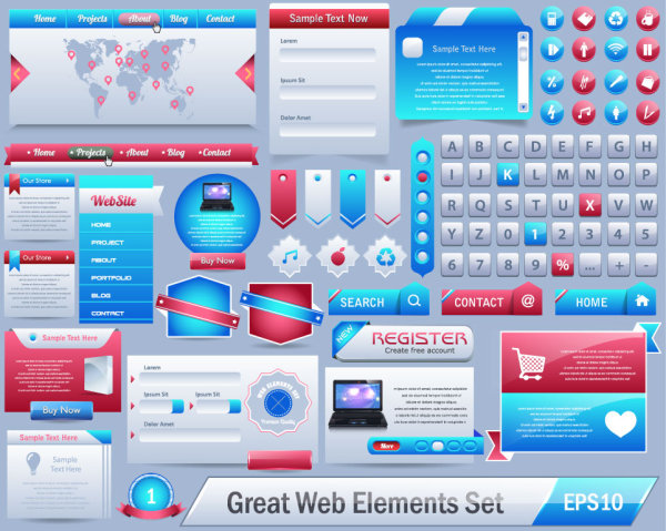 free vector great web elements Complete Set - Vector Web design ...