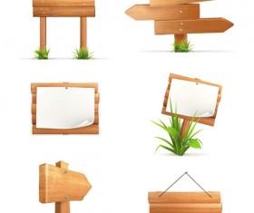 Wooden signboards vector background 04