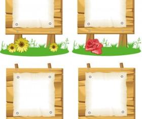 Wooden signboards vector background 05