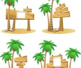 Wooden signboards vector background 06