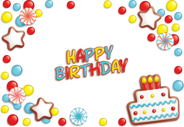 Happy Birthday design elements free vector 02