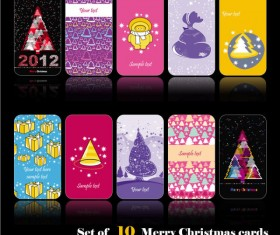 Set of merry christmas cards vector