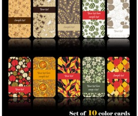 Set of color Floral cards vector 01