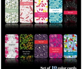 Set of color Floral cards vector 02