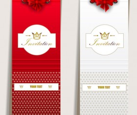 Red Bow Label cards vector 02