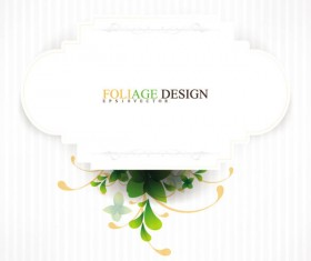 Abstract foliage & Flowers vector labels 01