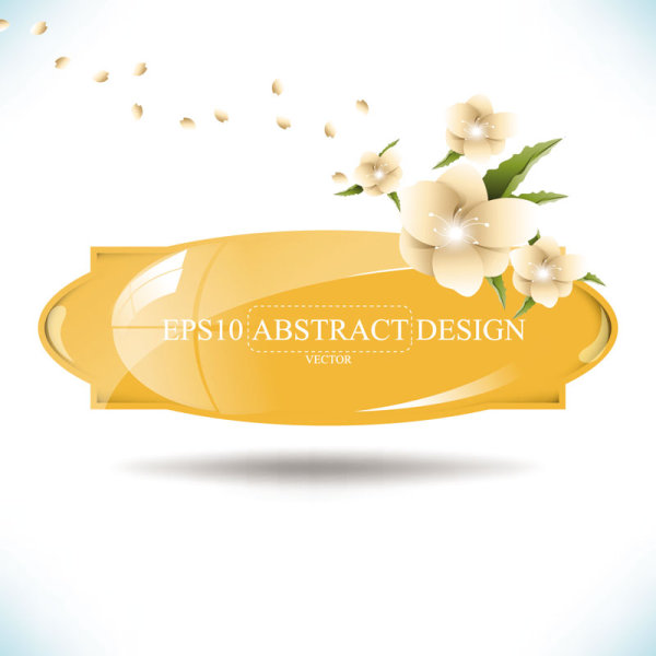 Abstract foliage & Flowers vector labels 02