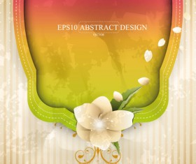 Abstract foliage & Flowers vector labels 04