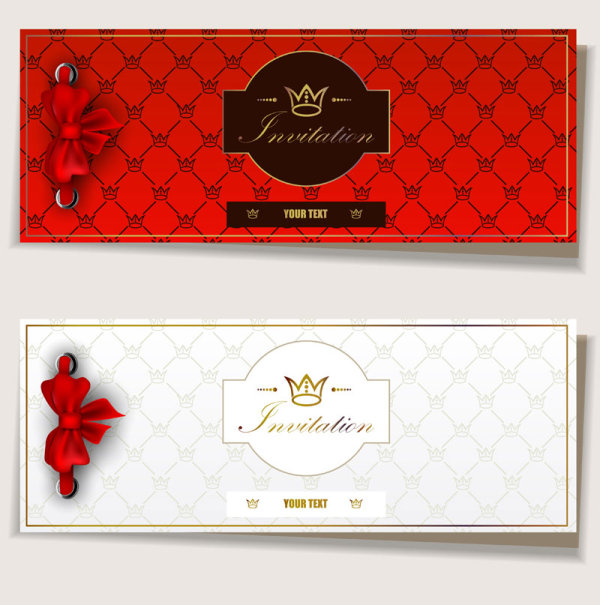 Red Bow Label cards vector 03