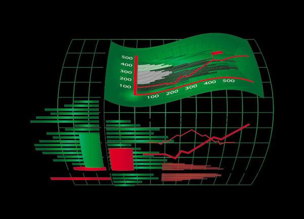 Business Figure on K Line vector 01