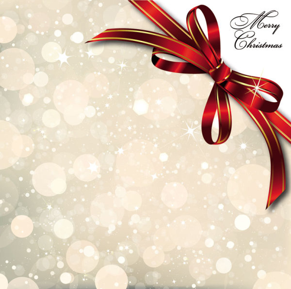 Exceptionnel Bow Merry Christmas Cards Vector 01