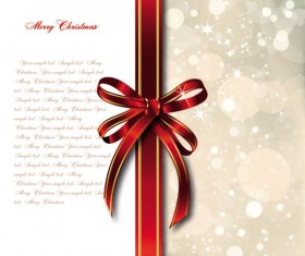bow merry christmas cards vector 02