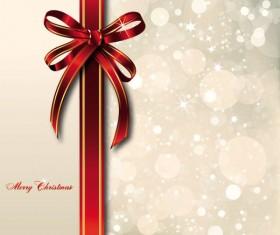 bow merry christmas cards vector 03