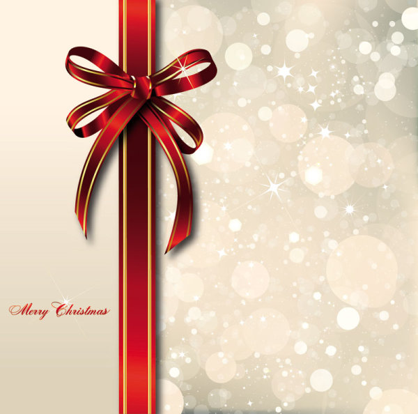 Charmant Bow Merry Christmas Cards Vector 03
