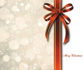bow merry christmas cards vector 04
