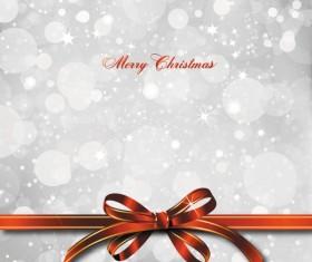 bow merry christmas cards vector 05