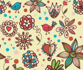 cute cartoon Decorative pattern background vector 01