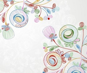 Crayons Style Vector Floral Illustration