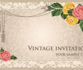 vintage invitation cards background vector 01